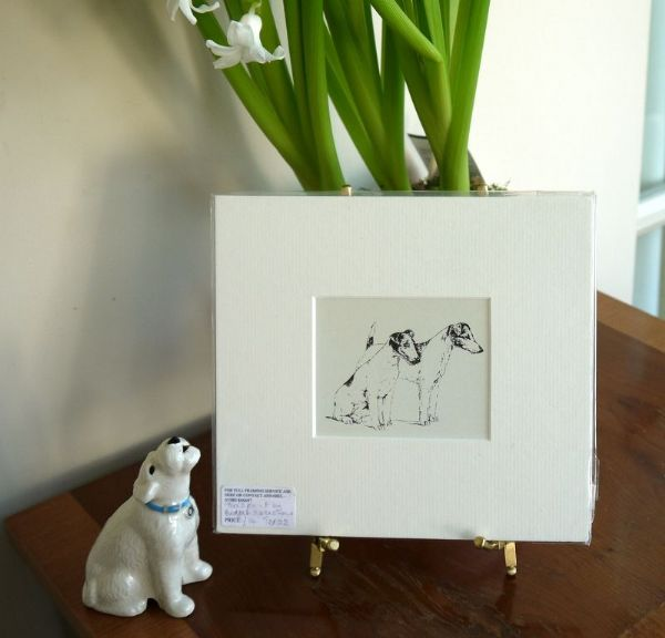 Jack Russell -  Two Fox Terriers - 1960's print by Bridget Olerenshaw - Ter O2